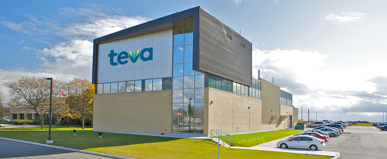 Photograph of Teva Canada's Centre of Excellence for Solid Dose Products in Stouffville, Ontario.